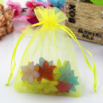 Free Shipping 1000pcs/lot 9x12cm Yellow Organza Bags Wedding Favor Drawstring Gift Bag Small Candy Jewelry Packaging Bag Pouches