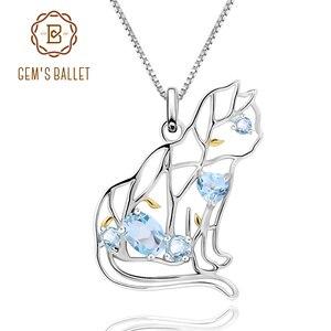 Image 1 - Женский кулон с натуральным небесно голубым топазом GEMS BALLET, ювелирное изделие в форме кошки, ювелирное изделие в форме животного, ювелирное изделие ручной работы из стерлингового серебра 925 пробы