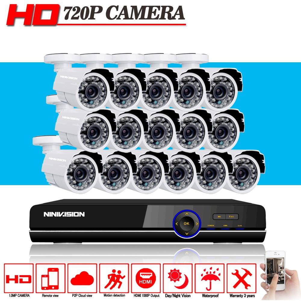 NINIVISION HD 16CH CCTV System AHD-N H DVR Recorder 16pcs 2000TVL 720P Video CCTV Camera Security Home Surveillance Systems Kits