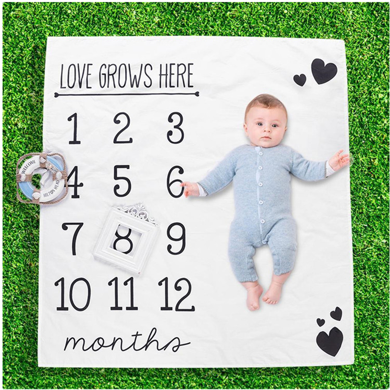Cute Patterns Infant Portray Blanket Milestone Photo Props Backdrop Cloth Calendar Baby Photo Accessories Baby Play Mats | Happy Baby Mama
