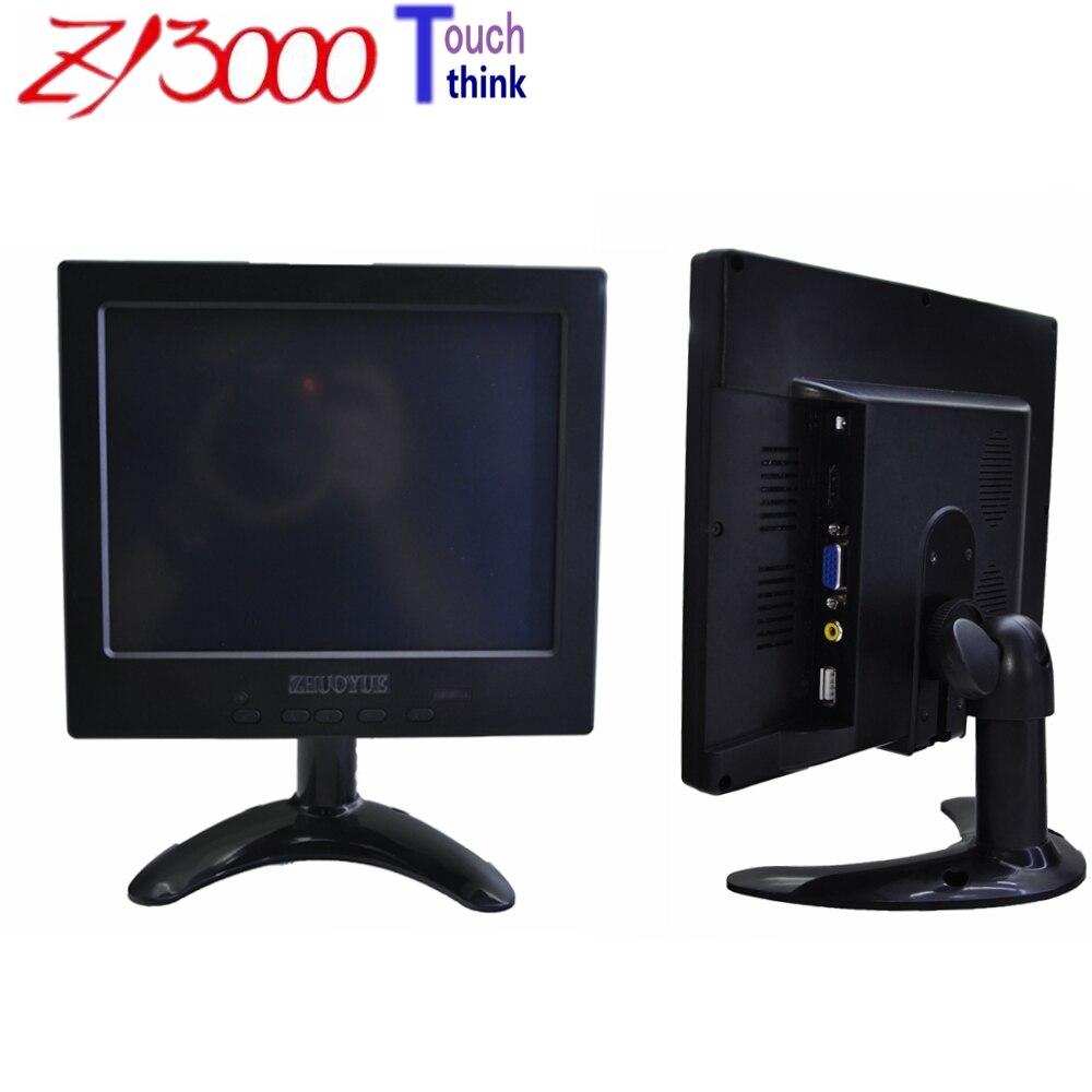 Garantie 1 an nouveau stock 8 pouces 4:3 800*600 led 1 * VGA 1 * HDMI 1 * AV dc12v entrée 4 fils usb résistif écran tactile moniteur pour voiture