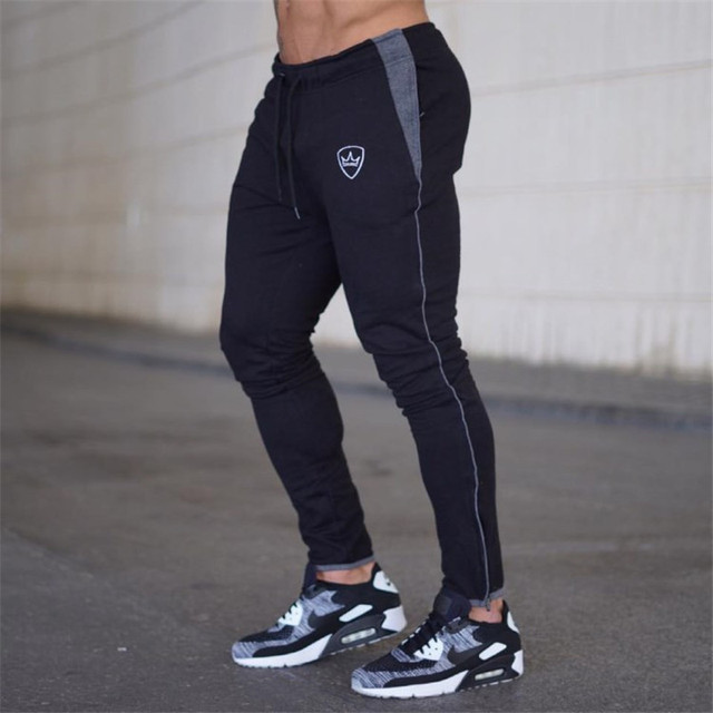 YEMEKE 2019 Cotton Men full sportswear Pants Casual Elastic Mens Fitness Workout Pants skinny Sweatpants Trousers Jogger Pants