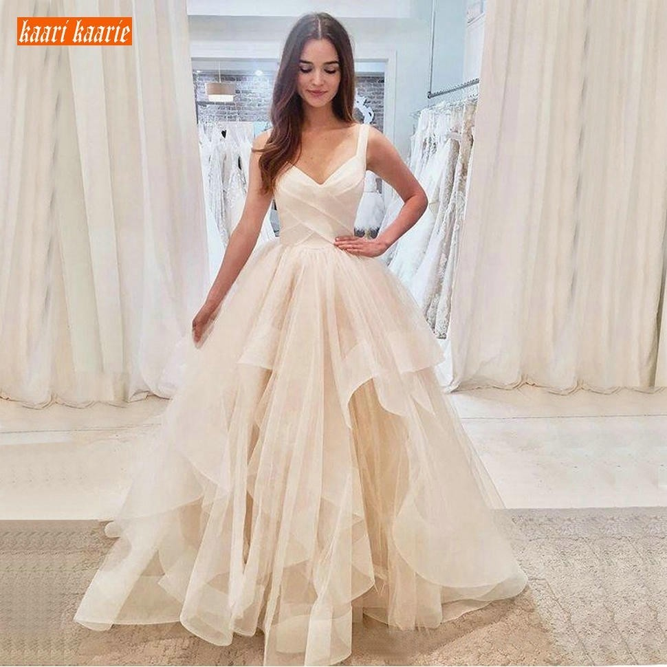 Gracieuse robe de bal ivoire robes de mariée longues volants princesse blanche Slim Fit robes de mariée vendre bien personnalisé faire robe de mariée - 3