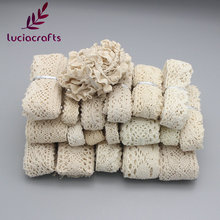 Lucia Crafts 2y Ivory Trim Cotton Crocheted Lace Ribbons Apparel Sewing Fabric Material DIY Handmade Accessories 050021158