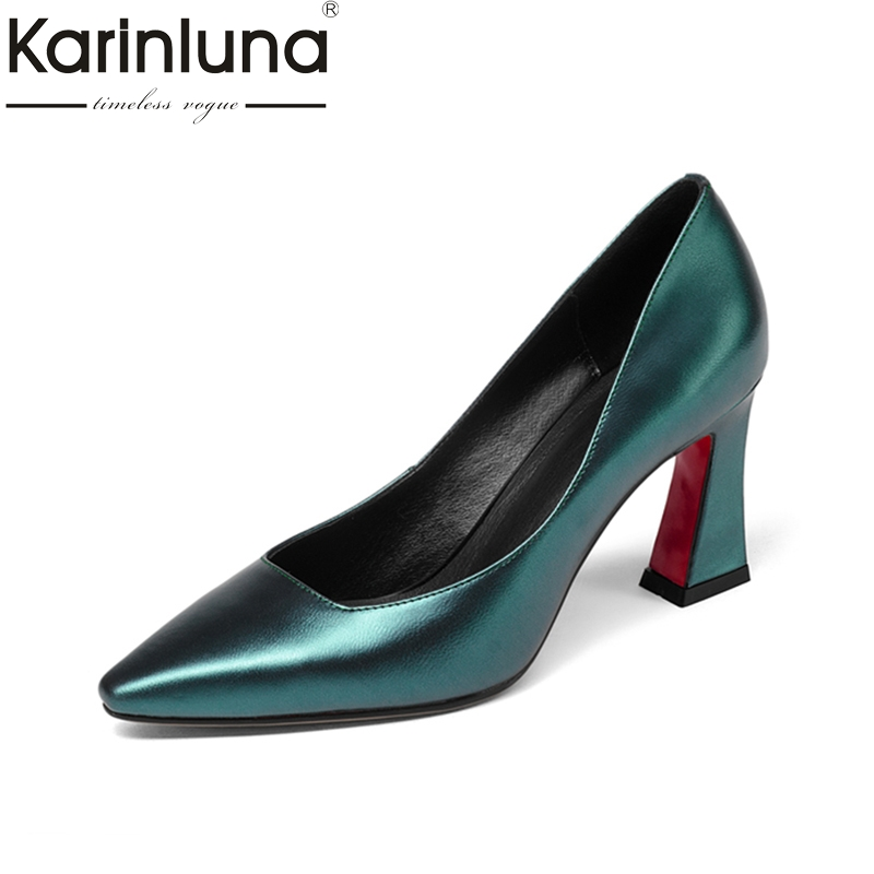 KARINLUNA genuine leather size 34-39 Women Pumps high heels Pointed Toe Office Ladies Shoes Woman party dating fashion comfy women pointed toe square high heels office shoes woman flock ladies pumps plus size 34 40 black grey high quality