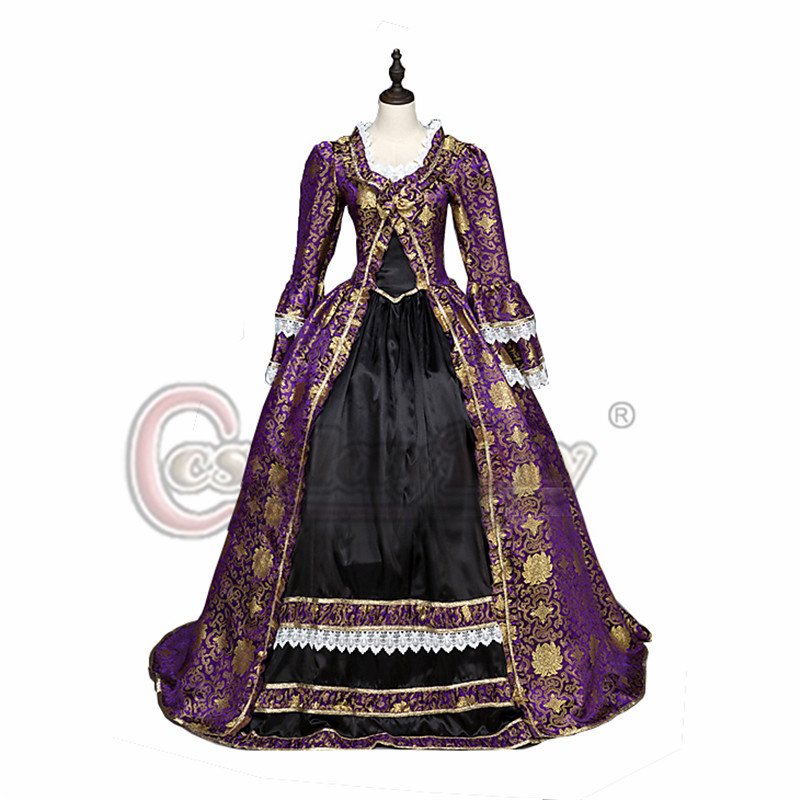 Cosplaydiy Victorian Rococo Women's Dress Masquerade Purple Vintage Cosplay Satin Long Sleeves Floor Length Ball Gown L320