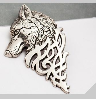 Мужской костюм воротник пряжкой Властного Волк Брошь pin Галстуки старинное серебро/золото 5,5*3,4 см ювелирные изделия 5 шт.