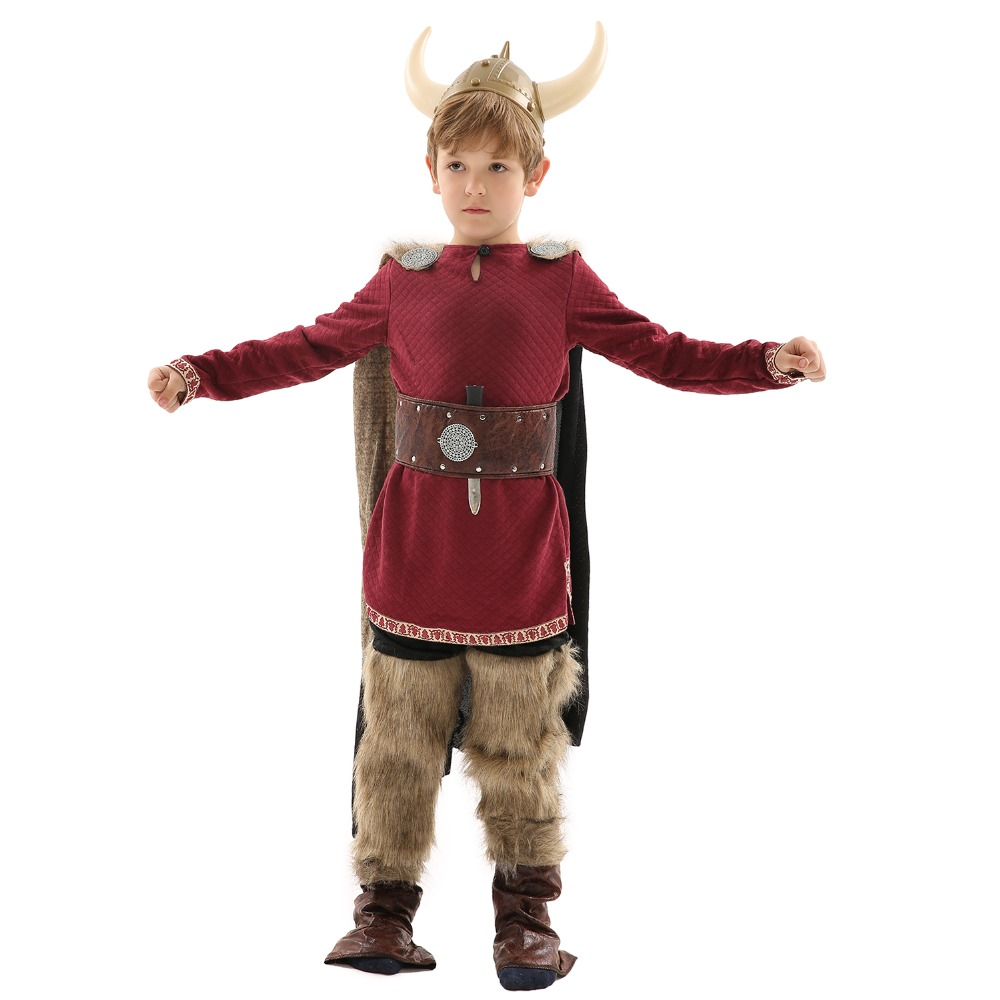3-9 Years Old Boy Vikings Costume Role-Play for Cosplay Theme Party,Halloween or Stage Performance with Set of Accessories