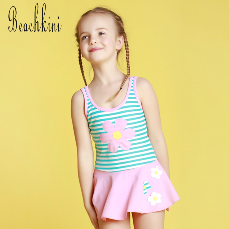 Striped One Piece Swimsuit Girl Lace-Trim Swimwear Lovely Floral Ornament Bathing Suit Quick Dry Kid Beach Wear Backless Skirt
