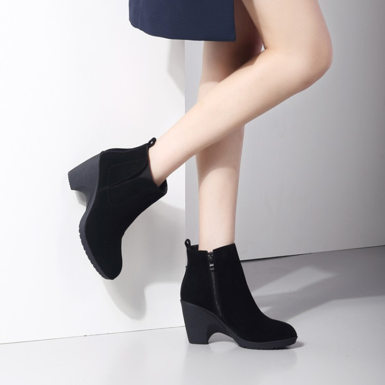 2016 New Black Matte Leather Ankle Boots Chunky Heel Martin Bootie Women's Footwear Gray High Heels Shoes Khaki