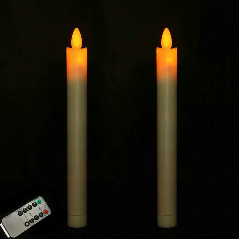 10pcs moving dancing wick LED Taper remote controlled w timer Function Stick Candles Xmas Wedding Table