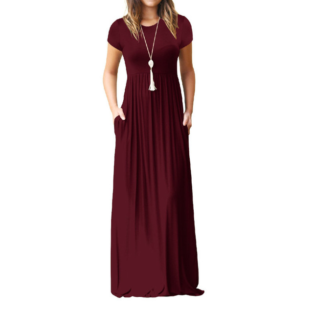 9fe758a99d6 Summer Long Maxi Dress New Short Sleeve Solid Casual Women Dresses XXL Plus  Size 2XL Pockets