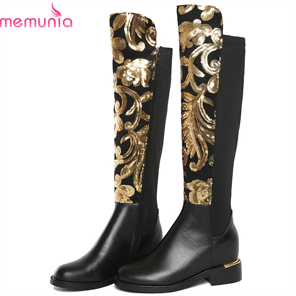 MEMUNIA 2018 fashion new women boots black genuine leather ladies boots square heel zipper cow leather over the knee boots memunia fashion women boots round toe ladies genuine leather boots square heel zipper cow leather wool keep warm mid calf boots
