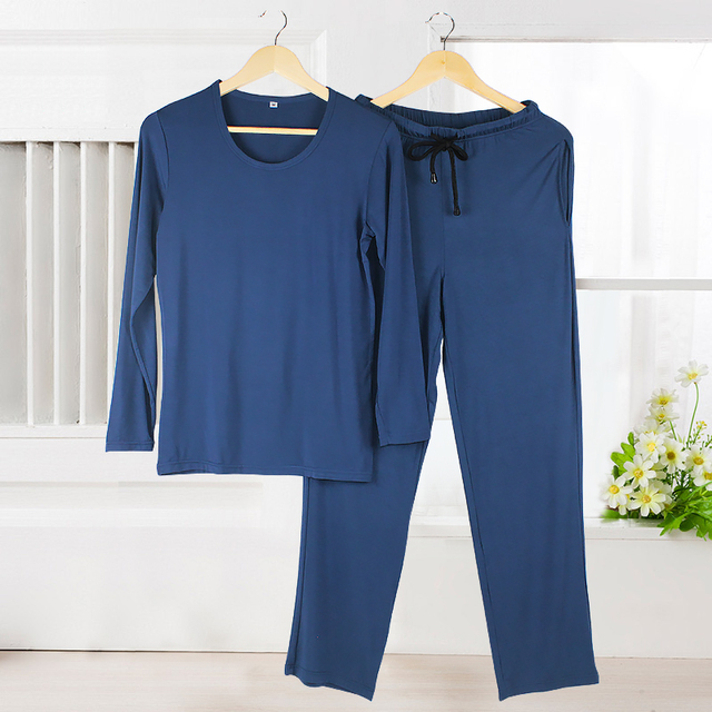 2016 autumn luxurious mens cotton pajama set long sleeve sleepwear pyjamas men plus