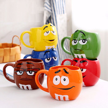 Caneca M&M Bean Large Capacity Coffee Cup Breakfast Milk Tea Cup and Cup with Spoon Ceramic Expression Drinking 680ML все цены