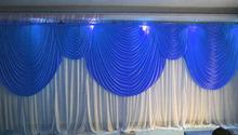6m/20ft (w) x 3m/10ft (h) Royal Blue with White Wedding backdrop curtain wedding props wedding background veil