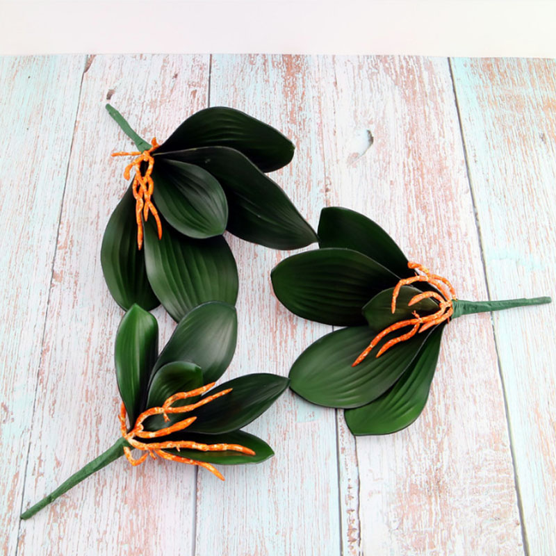 Hot 1Pcs Phalaenopsis leaf artificial plant leaf decorative flowers auxiliary material flower decoration Orchid leaves wholesale in Artificial Plants from Home Garden