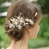 Jonnafe Handmade Chaming Hair Comb Bridal Hair Accessories Gold Leaf Pearls Women Headpiece Handmade Wedding Jewelry
