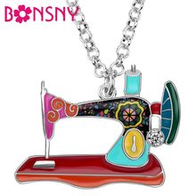 Bonsny Enamel Alloy Rhinestone Floral Sewing Machine Necklace Pendant Collar Fashion Vintage Tools Jewelry For Women Girls Gift(China)