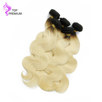 TOP PREMIUM #1B/613 Ombre Human Hair Blonde Color Body Wave Bundles Peruvian Virgin Hair Weaves 300grams Free Shipping