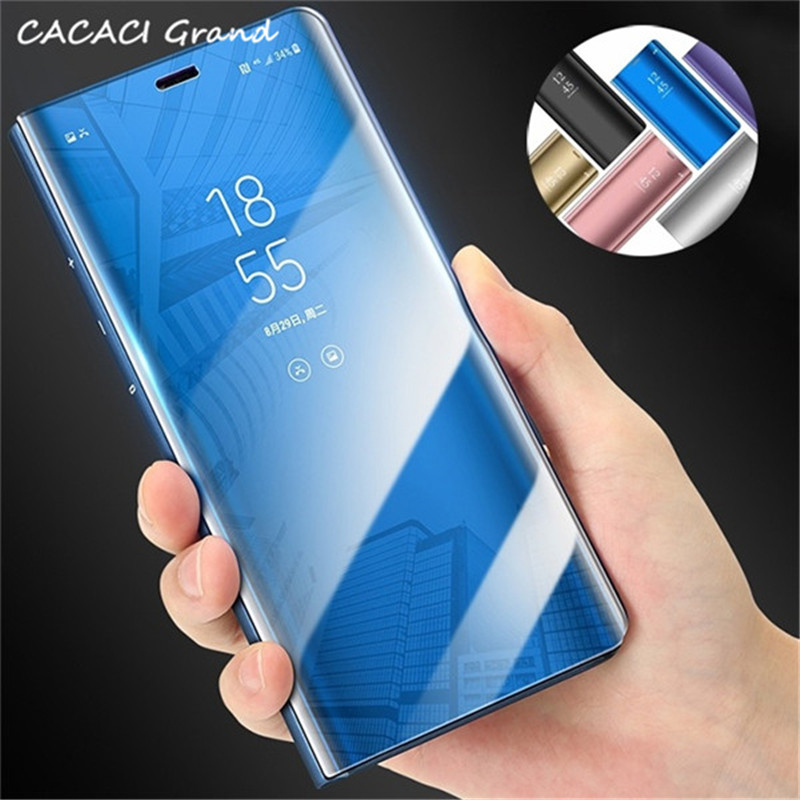 For Samsung Galaxy S10E Case Clear Leather Stand Smart View Mirror Flip Cover For Samsung Galaxy S10 Plus M10 M20 S 10 Fundas