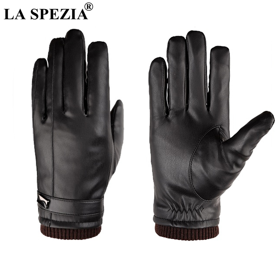 LA SPEZIA Black Leather Gloves Waterproof Bike Men Gloves Winter Thermal Touch Screen Thick Male PU Fleece Mittens High Quality