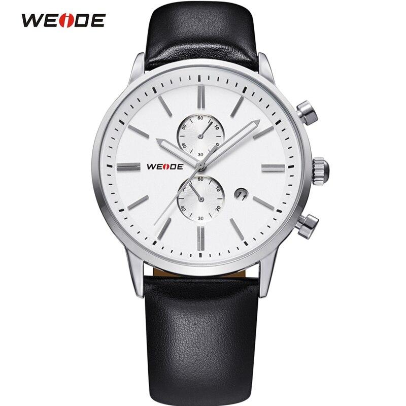WEIDE Luxury Brand Genuine Leather Strap Analog Date Men's Quartz Watch Casual Watches Men Wristwatch relogio masculino naviforce nf9057 men quartz watch analog wristwatch date watches pu strap