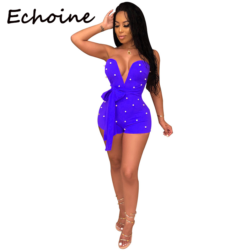 Echoine Sexy Off Shoulder Sheer Pearl Playsuit Bodycon Bandage Open Up Plus Size Women Clubwear   Jumpsuits   And Rompers For Women