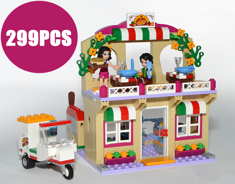 New Girl Friends Heartlake Pizza Restaurant fit legoings friends figures model Building block brick Toy boys 41311 kid gift set 10556 heartlake friends space ship amusement park model building kits block girls toys compatible legoes friends gift kid set