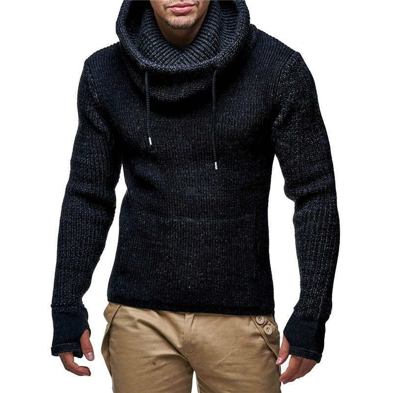 Zogaa 2019 Autumn Winter New Men's Turtleneck Sweaters Male High Street Solid Color Sweaters Slim Fit Knitted Pullover Sweater