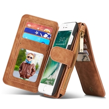 CaseMe Leather Case For Coque iPhone 7 Case Cover Flip Wallet Zipper Card Holder For iphone7 Case for iPhone 7 Plus Capinha Etui