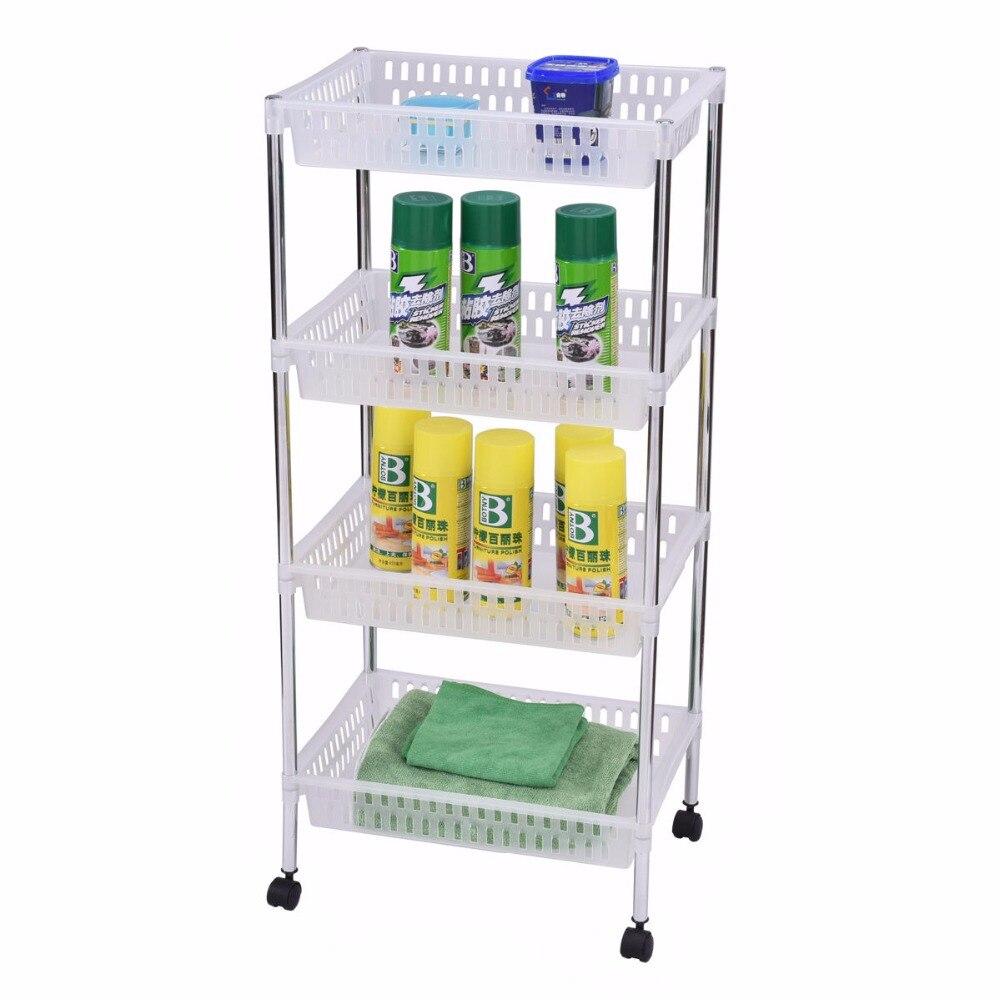 Goplus rolling Кухня тележки 4 слоя Портативный тележка для хранения Дисплей корзины Ванная комната Кухня офис организатора hw53827