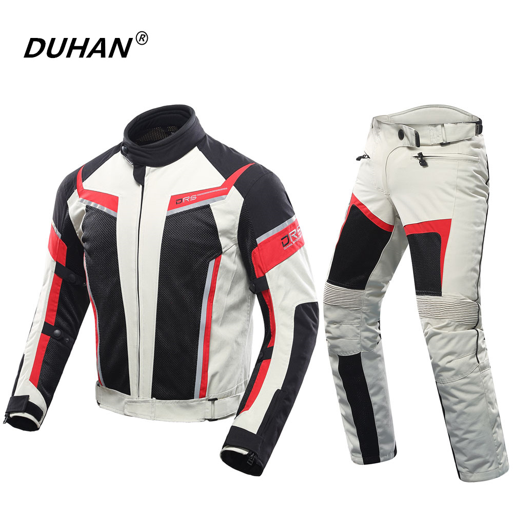 DUHAN hommes Moto veste de protection Moto pantalon ensemble printemps été respirant maille équitation veste Moto pantalon costume vêtements