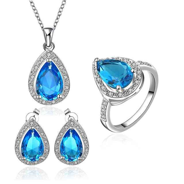 Best Friends GoldenPlated african jewelry set Blue stone jewelry clean love N+E+R Jewellry sets couponFBLS057