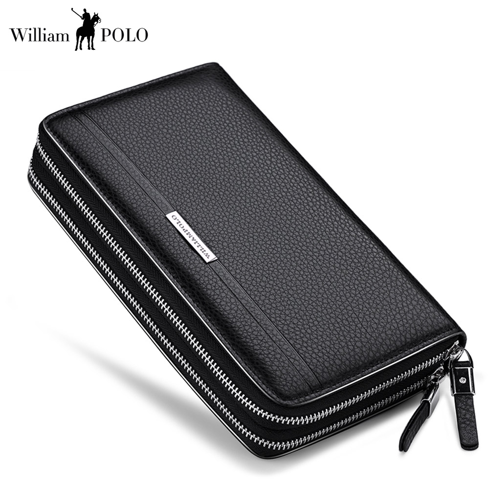 WilliamPOLO Men Wallets Long Clutch bag Genuine Leather Cards Holder Double Zipper Wallets luxury Phone ID card Coin Purse Men williampolo genuine leather men wallet handbag coin pocket phone wallets card holder leather long clutch zipper black brown 80