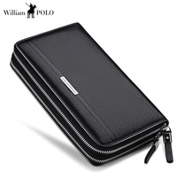 WilliamPOLO Men Wallets Long Clutch bag Genuine Leather Cards Holder Double Zipper Wallets luxury Phone ID card Coin Purse Men