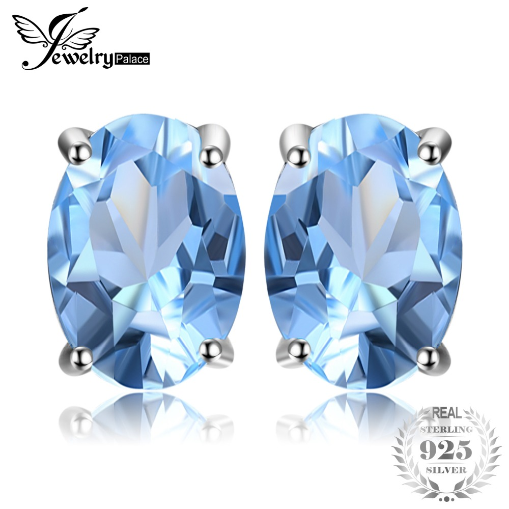 JewelryPalace Oval 1.9ct Natural Sky Blue Topaz Birthstone Stud Earrings Solid 925 Sterling Silver Fine Jewelry For Women