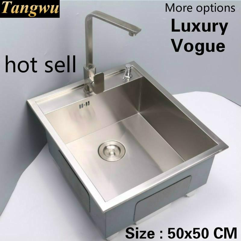 Free Shipping Standard Individuality Kitchen Mini Balcony Manual Sink Single Trough Food-grade Stainless Steel Hot Sell 50x50 CM