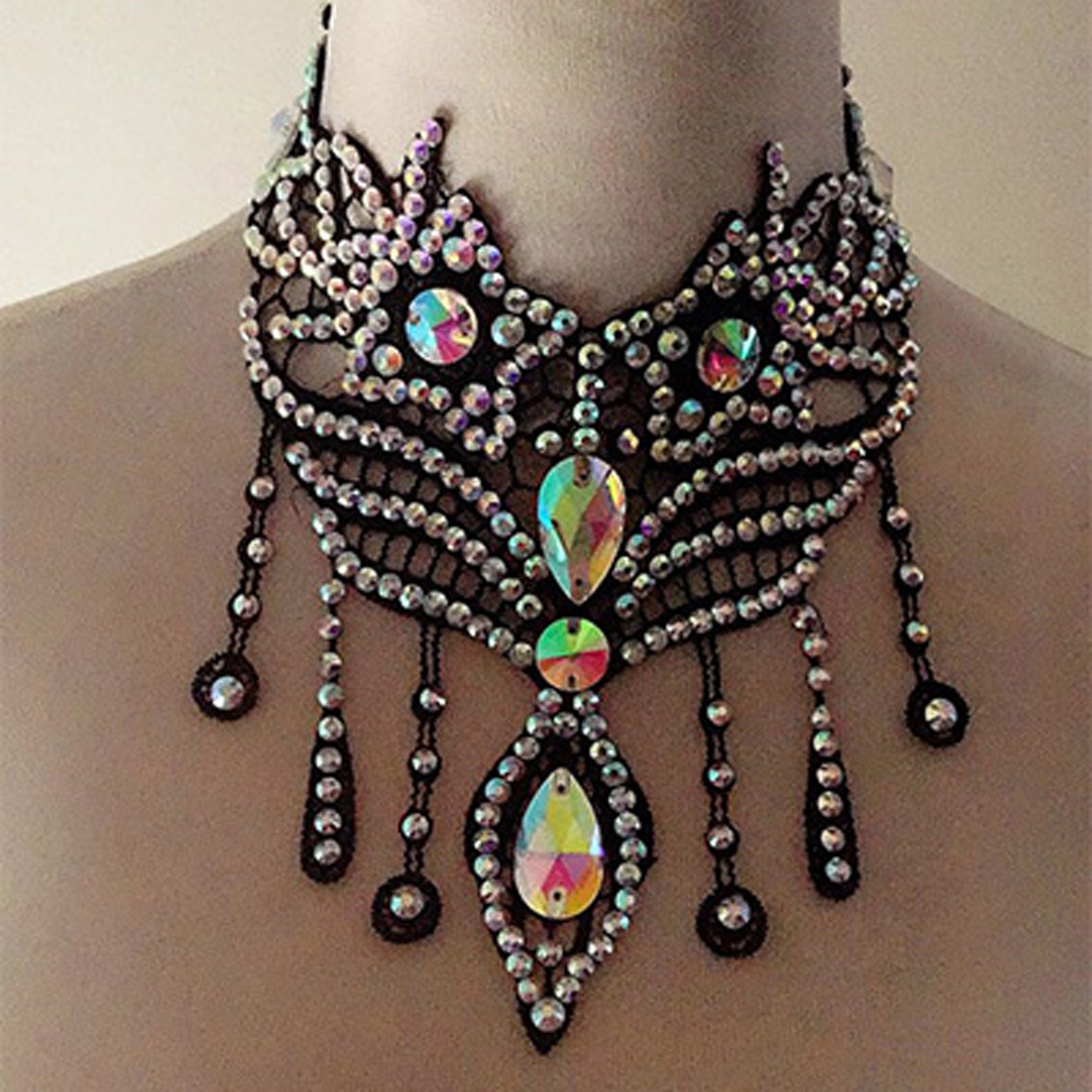 2018 New Latin Dance Modern Dance Competition Dance Dress Accessories Middle East Drilling Necklace