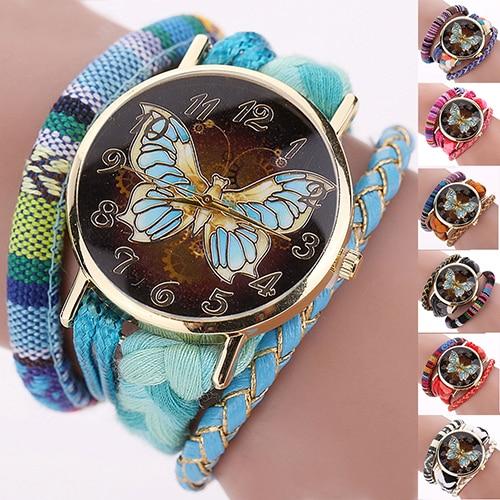 Women Ethnic Style Butterfly Multi-Layer Braided Quartz Bracelet Wrist Watch