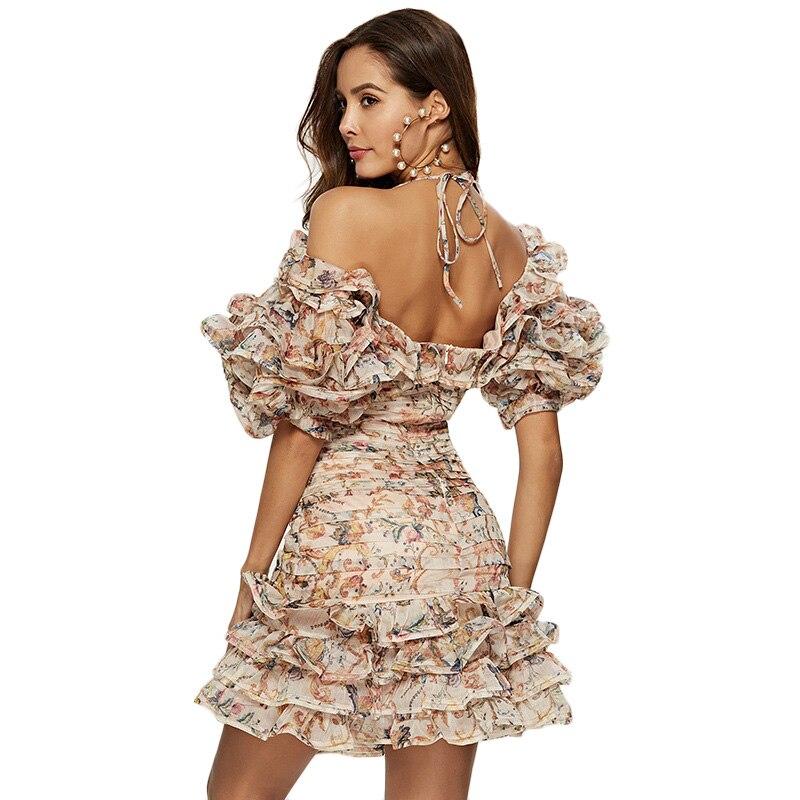 Kadın Giyim'ten Elbiseler'de Çiçek Baskı Yaz Plaj Boho Elbise Kadınlar Moda Halter Backless Kısa Balo Elbisesi 2019 Streetwear Kısa Kollu Organze Elbiseler'da  Grup 2