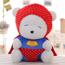 cute superman suits design bear doll plush toy large 55cm throw pillow , Christmas gift  x085