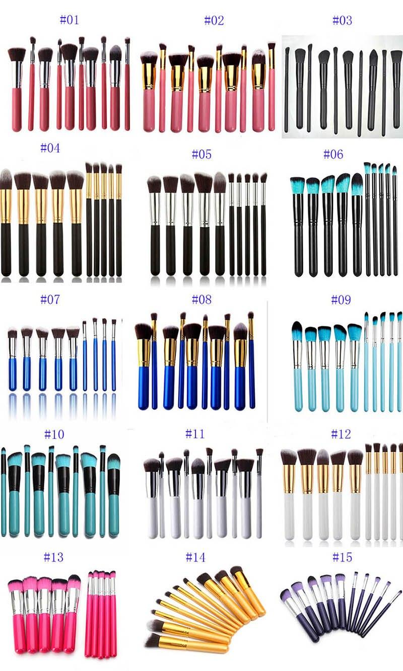 buy 15 colors pro powder foundation makeup brush tools 10pcs set professional. Black Bedroom Furniture Sets. Home Design Ideas