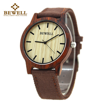BEWELL 2017 New Arrival Casual Natural Black Wood Watch With Canvas Band For Mens Gifts Simple