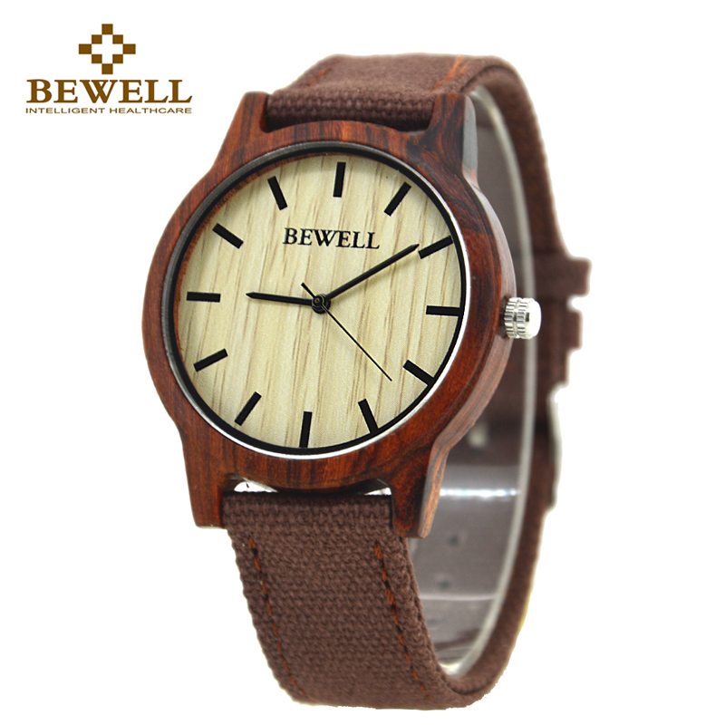 BEWELL 134A Unisex Canvas Band Nature Wood Case Watch for Men and Women Simple Design Lightweight Analog Quartz Wristwatches simple cat print and canvas design satchel for women
