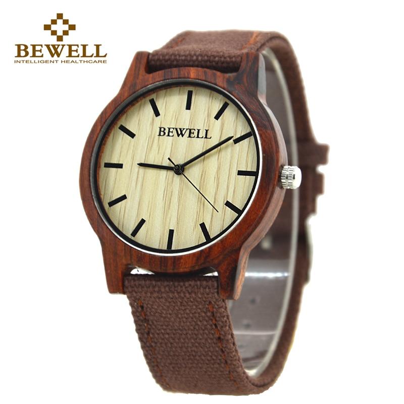 все цены на BEWELL 134A Unisex Canvas Band Nature Wood Case Watch for Men and Women Simple Design Lightweight Analog Quartz Wristwatches