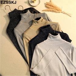 Glitter Turtleneck knit sweater Shinny Chic Women Sweaters And Pullovers spring Autumn thin bling Lurex slim baisc sweater 2