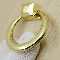 Modern Simple Fashion Furniture Knobs Gold Drawer Cabinet Pulls Knobs Bright Gold Shaky Drop Rings Dresser