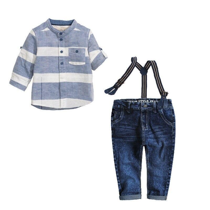 2017 Spring Autumn Children Sets Casual Blue Striped Shirts Kids Jeans Strap 3 Pcs Child Boys
