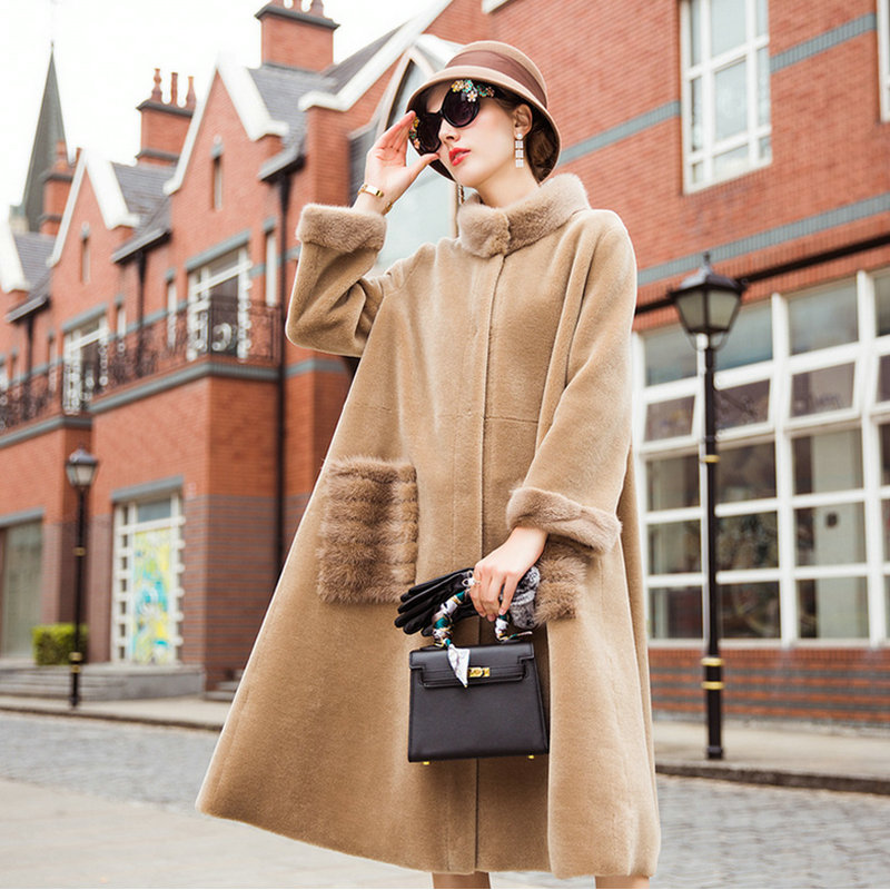 Овчины мутон пальто куртка Для женщин куртка пальто с мехом шерстяное пальто Для женщин зимние куртки с натуральным мехом Для женщин Меховы...